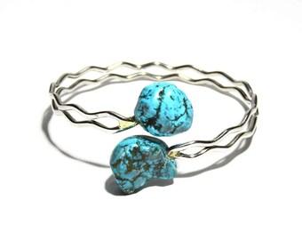 Turquoise Bracelet, Sterling Steel Bracelet, Bracelet with Turquoise Stone, Adjustable Bracelet, Metal, BLB 30