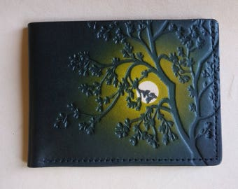 Leather Wallet /Tree /Green Sky