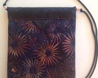 "Batik Sunburst Quilted Fabric Snap Bag Purse Handbag Novelty 8"" x 9"""