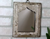 Small Moroccan Mirror Vintage Wood Framed Mirror Wall Hanging Art Distressed Reclaimed Whitewash Cottage Chic Mirror Moroccan Decor Turkish