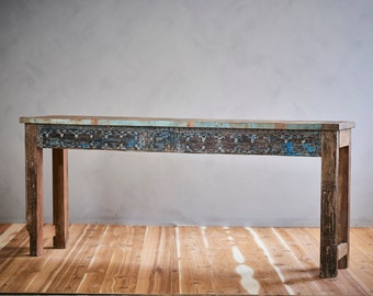 Console Table Reclaimed Indian Architectural Elements Light Jodhpur Blue Carved Media Stand Boho Furniture Moroccan Decor Turkish Interior