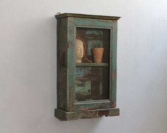 Hanging Cabinet Small Curio Home Temple Display Cabinet Teak Wood Reclaimed Bathroom Cabinet Kitchen Storage Boho Cabinet Green and Blue