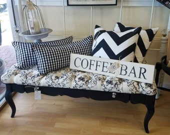 Victorian coffee table becomes upholstered bench