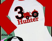 FLASH SALE Red Tractor Shirt - Tractor Birthday Shirt - Big Number Birthday Red Tractor Raglan Shirt Personalized with name and age Long Sle