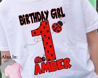 Lady Bug Shirt - Birthday lady bug Shirt - polka dot Personalized Shirt - Birthday Girl Shirt - Birthday Party Shirt red lady bug Shirt