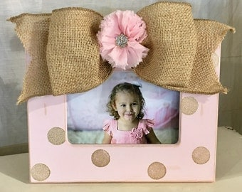 Soft pink 4x6 frame with chsmpagne dots and burlap jeweled flower bow