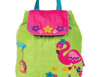 SHIPS NEXT DAY--Personalized Monogrammed --New Pattern Stephen Joseph Kid Quilted Lime Pink Teal Flamingo Backpack-Free Monogramming-