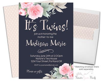 Twin Baby Shower Invitation, Twin Baby Shower Invite, Baby Shower Invitations Girl, Twins Invitation, Baby Shower Invites, Shower Invitation