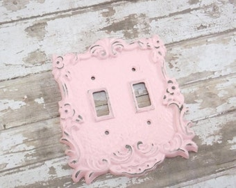 HOLIDAY SALE PINK / Light Switch Cover / Shabby Chic Light Switch Cover / Light Plate / Double Light Switch / Shabby Chic Nursery