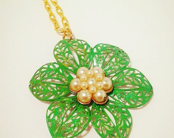 Flower Necklace-Vintage Reclaim-Repurposed-Green-Pearl-Earring-Gold-Vintaj Patina