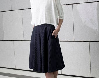 Blue stripes midi skirt, full circle, prom Skirt, high waist skirt, Navy blue summer skirt, short black skirt, party wear, minimal style