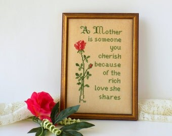 Mother Cross Stitch Sampler. Needlework Embroidery. Vintage Wall Decor. Gift for Mom. Shabby Cottage, Romantic Country and Farmhouse Chic.