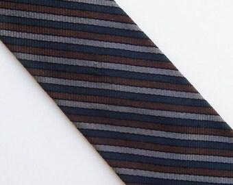 "Vintage 60's Skinny Tie Necktie Brown Gray Navy Blue Diagonal Stripes 2.25"""