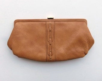 Vintage Clutch Purse in Camel Brown Leather