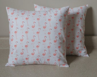 Set of 2 flamingo birds coral peach pillow covers shams 16 x 16 throw cushions white nature