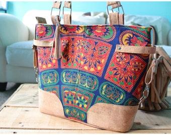 Bohemian bag - mandala bag - bohemian handbags - tribal bags - cork bags - custom handbags