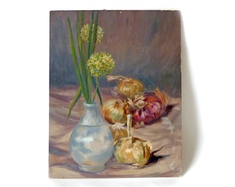 Vintage Floral Still Life Painting on Board … Unframed Figurative Art, Flowering Onions in Vase, Blue and Pink, Amateur Artist, Vegetables