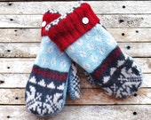 Felted Wool Sweater Mittens Medium Fleece Lined Blue White Grey Red Nordic Pattern Hand Made Warm Winter Gear Christmas Gift Cozy Outerwear