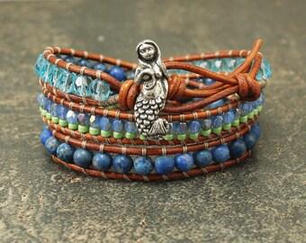 Bold Mermaid Jewelry Turquoise Green Blue Mermaid Bracelet Colorful Triple Leather Wrap Bracelet