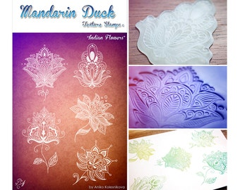 INDIAN FLOWERS Mandarin Duck Texture Stamp - silicone, polymer, ink, papercrafts, fabric, polymer clay