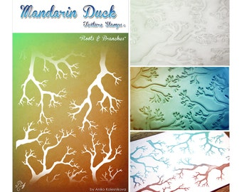 ROOTS & BRANCHES Mandarin Duck Texture Stamp - silicone, polymer, ink, papercrafts, fabric, polymer clay