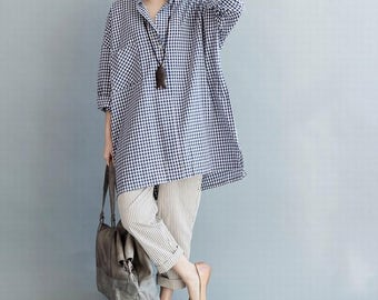 Loose Fitting Cotton Blouse for Women  -  Women Clothing