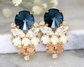 Blue Navy Earrings, Navy Blue Swarovski Earrings, Bridal Dark Blue Earrings, Gift For Her, Bridal Rose Gold Cluster Earrings,Blue Navy Studs
