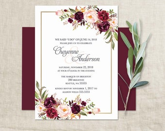 Marsala Wedding Reception Only Invitation Bohemian Wedding I DO BBQ Wedding  Invite Floral Wine Burgundy Wedding