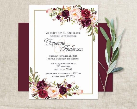 Digital Wedding Invitation Ideas: Marsala Wedding Reception Only Invitation Bohemian Wedding I