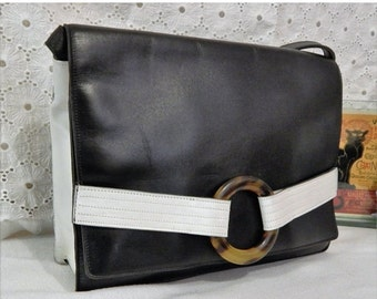 60% OFF RARE Vintage Authentic CHRISTIAN Dior~Black and White Leather~Tortoise Lucite