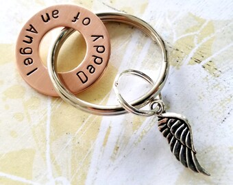 Daddy of an Angel Keychain - copper Washer & angel wing - Dad of an Angel - In Memory Of - Memorial - Loss of baby - child - Son - Daughter