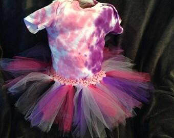 pink and purple tye dye onesie tutu