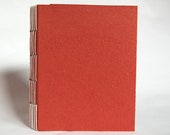 Hand-Bound Blank Notebook with Long-Stitch Binding, Handmade Red Paper Cover (2017), Item No. 251.01
