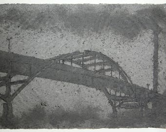 Bridge to Nowhere No. 4 (Hoan Bridge, Milwaukee) - Handmade, pigmented abaca / cotton paper with pulp painting (2015), Item No. 203.04
