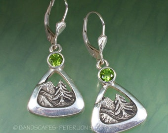 MOUNTAIN-TREE EARRING With Green Tourmaline, Sterling Silver, Leverback dangle