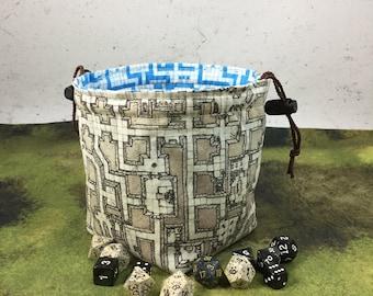 Classic RPG Map / Sepia Dungeon Reversible Dice Bag