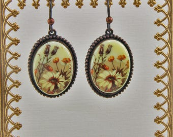Handmade Earrings Rusty Iron Patina on Pewter Porcelain Flower Cabochon  1 Inch Oval On Niobium Hooks Oscarcrow Originals