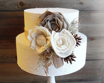 Ready to Ship ~~~ Rustic Sola Flower Cake Topper Pick with Pine Cones and Jute.