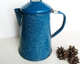 Blue Enamel Graniteware Coffee Pot, Camping tea pot, Enamelware Kettle