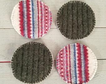 Reversible Wool Felt Coasters- Fair Isle