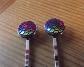 Petrol Coloured Iridescent Dragon Mermaid Fish Scale Hair Slide Bobby Pins