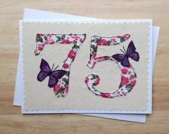 age 75 birthday card, 75th anniversary card, number 75, 75th Birthday