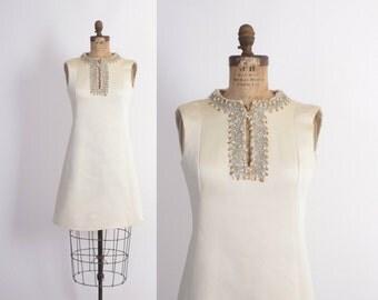 Vintage 60s Beaded DRESS / 1960s GINO CHARLES Beaded Ivory Mini Dress M