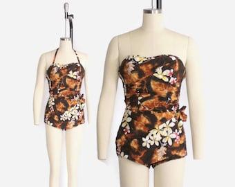 Vintage 50s HAWAIIAN Swimsuit / 1950s Convertible Halter Strapless Hawaiian Sarong Playsuit XS - S