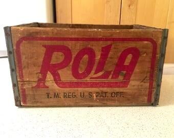 Large Rola Crate / Rola Beverages Erie, PA / Beverage Box / Wooden Soda Crate / Advertising / Man Cave Decor / Vintage Storage