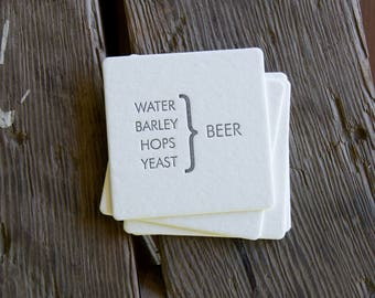 Beer Equation Coasters, set of 4 perfect gift for beer lover and brewer