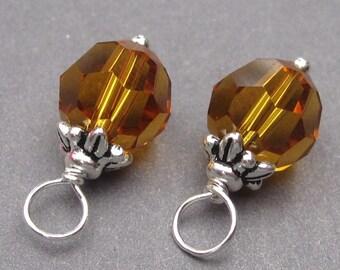 Interchangeable Earring Charms, Swarovski Crystal Charms, Topaz Birthstone Charms, Wrapped Bead Dangles, Bracelet Charms, 8mm Swarovski Bead