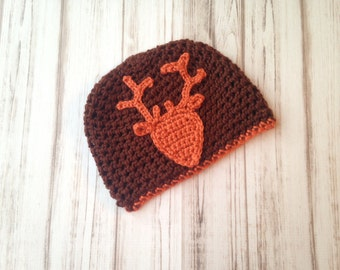 Brown and Orange Deer hat, Ready to ship size 12 months to 2 years, winter hat, christmas gift, gift under 20, photo prop