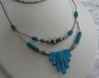 Vintage necklace, southwestern native style turquoise and silver pendant necklace, vintage jewelry