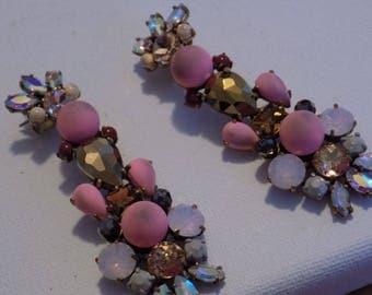 Vintage earrings, stud earrings, long chandelier crystal filled pink opaque, AB and black statement earrings